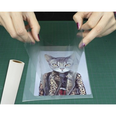 Películas transparentes con adhesivo reposicionable para transferir gráficos impresos