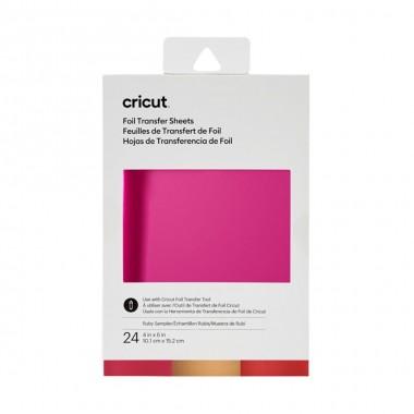 """Muestrario de hojas de transferencia Cricut Foil Ruby 4x6"""" (24 Piezas)"""