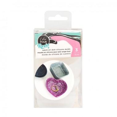 Molde para resina recipientes en forma de corazón, circulo y cuadrado Color Pour