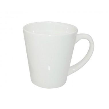 Taza blanca de cerámica tipo latte de 12oz. Sublimarts