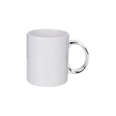 Taza blanca de cerámica con asa plateada de 11oz para sublimación Sublimarts