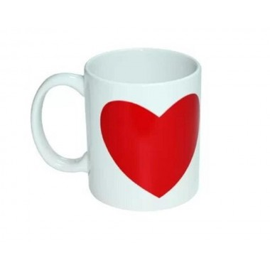 Taza mágica blanca con ventana de corazón rojo SublimArts de 11oz