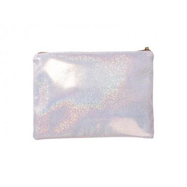 Cosmetiquera glitter color champagne 16.5 x 23 cm. Sublimarts