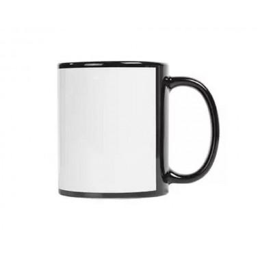 Taza de color negro de cerámica con ventana blanca SublimArts de 11oz