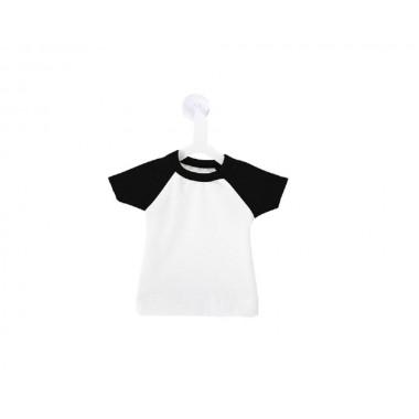 Mini playera de color blanco y negro con colgador y ventosa