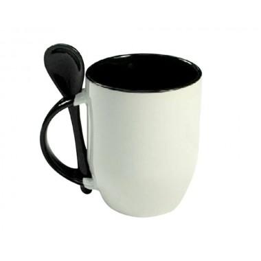 Taza blanca con interior, cuchara y asa de color negro Sublimarts