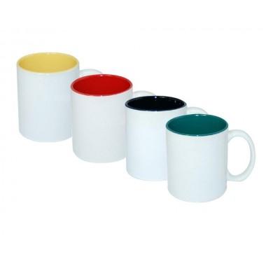 Taza blanca de cerámica de 11oz. con color en el interior Sublimarts