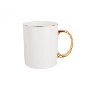 Taza blanca de cerámica con borde y asa dorado Sublimarts
