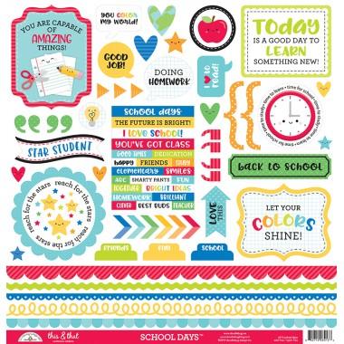 "Hoja de stickers íconos School Days This and That 12"" x 12"" Doodlebug"
