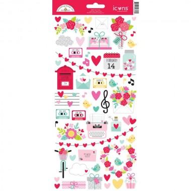 Calcomanías decorativas Icons Stickers Love Notes Doodlebug