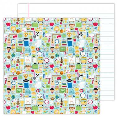 "Cartulina Doble Vista 1 hoja de 12"" x 12"" School Days Doodlebug"