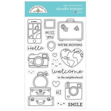 Sellos de Goma Prediseñados I Love Travel Doodlebug Doodle Stamps
