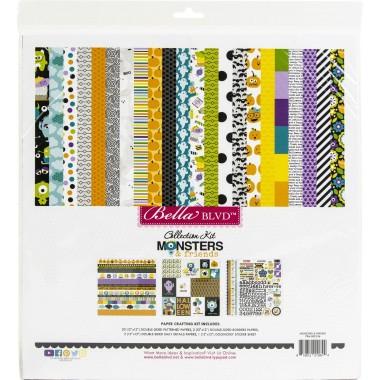 """Pack de Cartulina Doble Cara Monsters & Friends 12 piezas de 12"""" x 12"""" Doodlebug"""
