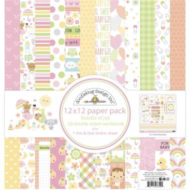 "Pack de Cartulina Doble Cara Bundle of Joy 12 piezas de 12"" x 12"" Doodlebug"