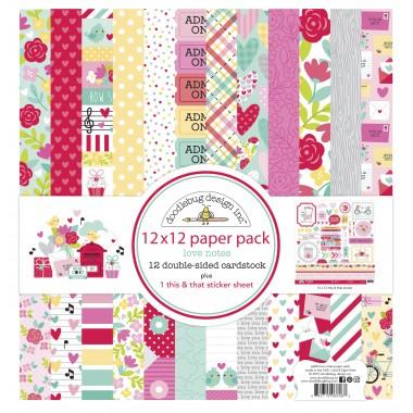"Pack de Cartulina Doble Cara Love Notes 12 piezas de 12"" x 12"" Doodlebug"