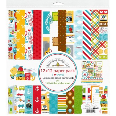"""Pack de Cartulina Doble Cara I Love Travel 12 piezas de 12"""" x 12"""" Doodlebug"""