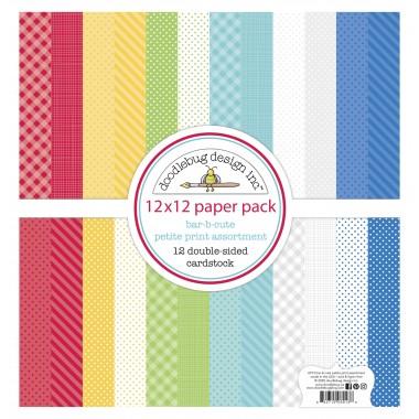 "Paquete de surtido de cartulinas Bar-B-Cute 12 piezas 12"" x 12"" Doodlebug"