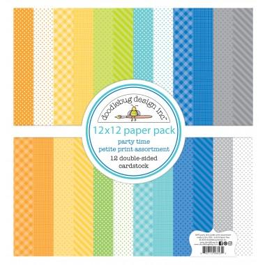 "Paquete de surtido de cartulinas Party Time 12 piezas 12"" x 12"" Doodlebug"