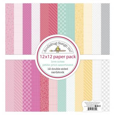 """Paquete de surtido de cartulinas Love Notes 12 piezas 12"""" x 12"""" Doodlebug"""