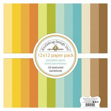 """Paquete de surtido de cartulinas texturizadas Pumpkin Spice 12 piezas 12"""" x 12"""" Doodlebug"""