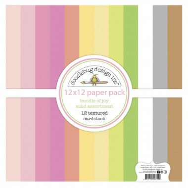"""Paquete de surtido de cartulinas texturizadas Bundle of Joy 12 piezas 12"""" x 12"""" Doodlebug"""