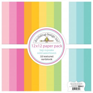 "Paquete de surtido de cartulinas texturizadas Hey Cupcake 12 piezas 12"" x 12"" Doodlebug"