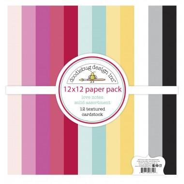 """Paquete de surtido de cartulinas texturizadas Love Notes 12 piezas 12"""" x 12"""" Doodlebug"""