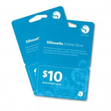 Tarjeta de 10 dlls para descargar diseños en la tienda Silhouette