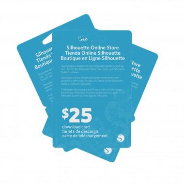 Tarjeta de 25 dlls para descargar diseños en la tienda Silhouette